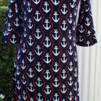 """""""Peplum"""" Sleeve Dress Anchors & Ropes **SIZE SMALL ONLY**"""