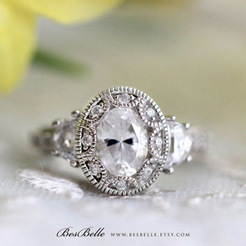 Art Deco Engagement Ring-Oval Cut Diamond Simulant-Vintage Ring-2.25 ctw Art Deco Ring-Bridal Ring-Promise Ring-Solid Sterling Silver [3950]