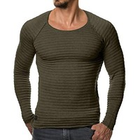Mens Sweaters 2018 Autumn Winter New Knitted Sweater Men Long Sleeve Striped Sweaters Solid Slim Fit Men Pullover Sueter Hombre