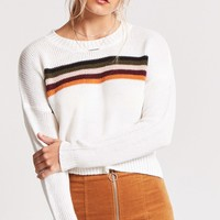 Stripe Graphic Purl Knit Sweater