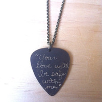"Engraved Brass Guitar Pick Necklace - Bon Iver song lyric ""Your love will be safe with me"""