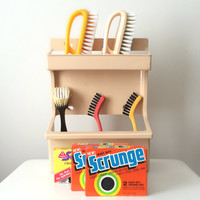 Vintage Rubbermaid Clean-Up Caddy, 1981, with Original Box, Wall Mounts, NOS Brushes and Scrubbers