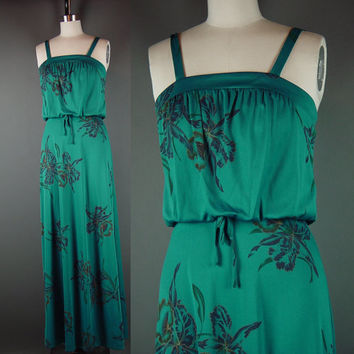 70s Teal Blue Green Maxi Dress Vintage 1970s Blouson Floral Sun Summer Party Long Full Length Prom XS