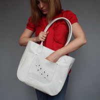 Leather tote bag white.  Leather summer bag.