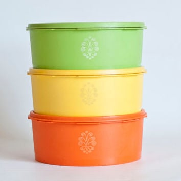 Tupperware Yellow Servalier Stacking Canisters, Harvest Colors Round Stackable Containers, Storage Containers Yellow, Orange, Green