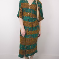 Vintage Neutral Button Up Abstract Maxi Dress