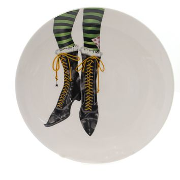Tabletop HALLOWEEN ACCENT PLATE Stoneware Witches Boots Hx1758a Shoes