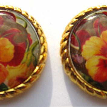 Hibiscus Hawaiian Flower Tropical Stud Earring by TheDorothyDays