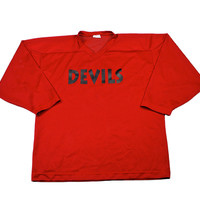 Vintage 90s Devils #6 Red Hockey Jersey Made in Canada Mens Size Large