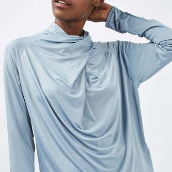 Drape Neck Long Sleeve Top | Topshop
