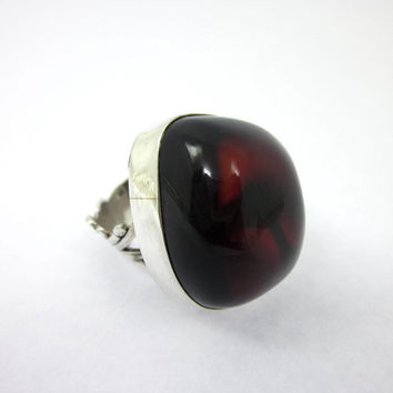 Gypsy Ring, Women's Amber Ring, Amber Jewelry, Red Amber, Size 5.5