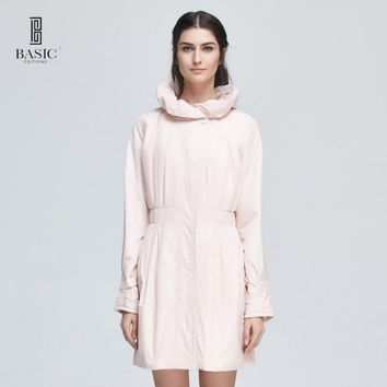 Basic Editions Women Spring Autumn Casual Cotton Pleated Collar Silm Fit Trench Coat - MA1030