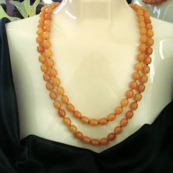 Antique Flapper Honey Amber Celluloid Bead Necklace / 54 Inches / 1920s-1930s / Vintage Jewelry / Jewellery