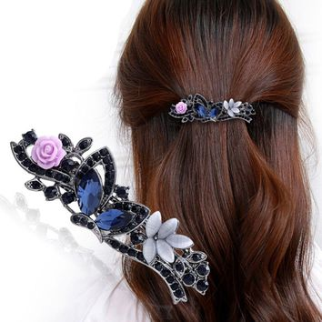Korean Hair Accessories Rhinestone Elegant Butterfly Flower Shaped Hairpins Colorful Crystal Bride Hair Clips