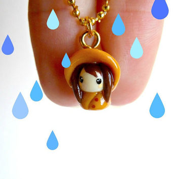 Raincoat girl pendant with bangs by MijbilCreatures on Etsy
