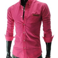 TheLees (AL348) Mens Casual Slim fit Vivid Color Leather Patched Long Sleeve Shirts Pink US XS(Tag size L)