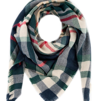 Illinois Plaid Square Scarf