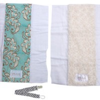 Baby Laundry 91122 Aqua & Ivory 2-Pack Soft Minky Burp Cloths with Pacifier Clip