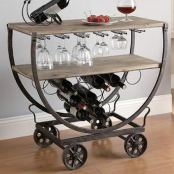 Industrial Wheeled Wine Cart Wine Rack By Crestview Collection Cvfzr451