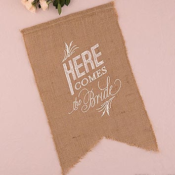 Feathered Burlap Here Comes The Bride Sign