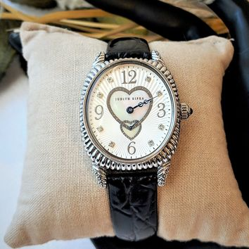 Judith Ripka Sterling Silver Black Leather Sapphire MOP Ladies Heart Watch