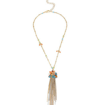 Betsey Johnson Woven Mixed Multi-Colored Bead & Flower Fringe Pendant Necklace | Dillards