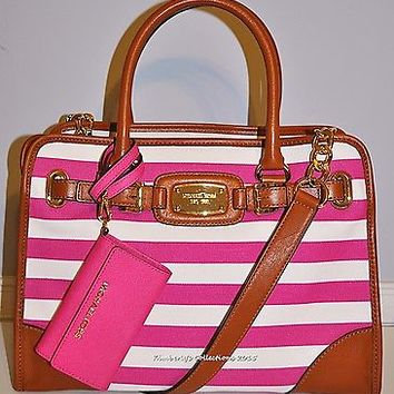 Michael Kors Hamilton Lg EW Pink  White Striped Tote Bag Purse & Phone Case NWT