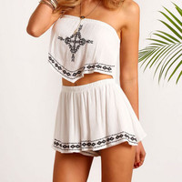 White Print Two Piece Set