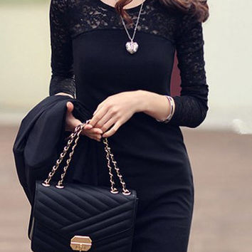 Black Long Sleeve Lace Panel Mini Dress