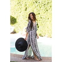 Alyssa Black Printed Kaftan Cover Up