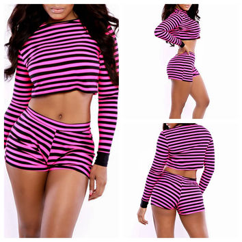 Pink Striped Long Sleeve Cropped Top and Shorts Set