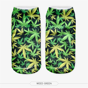 Fashion 3D Printed Weed Green Leaf Unisex Low Cut Ankle Women Socks Fashion Funny Bright Plant Floral Natural Casual Girls Socks