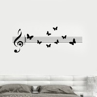 Vinyl Decal Music Musical Butterfly Room Decoration Wall Stickers Mural Unique Gift (ig2649)