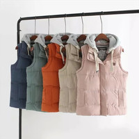 Hooded Sleeveless Zipper Pocket Parka Coat