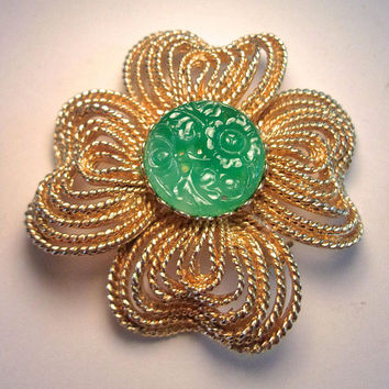 Peking Glass R.MANDLE Floral Brooch, Gold Tone, Twisted Loops, Carved, Rare Vintage