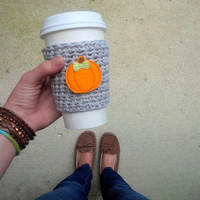 Crochet Coffee Cup Cozy, Fall Drink Holder, Fall Accessories, Pumpkin Coffee Cup Cozy, Fall Coffee Sleeve