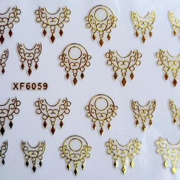 Water Transfer Nails Art Sticker Beautiful 3D gold carving design girl and women manicure tools Nail Wraps Decals XF6059