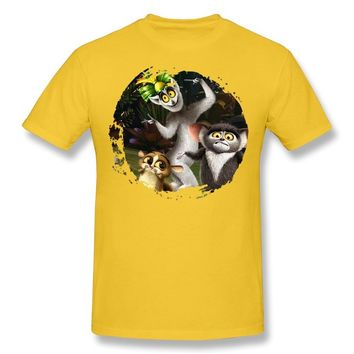 Men's King Julien The Penguins Of Madagascar 100% Cotton T-shirt Size XS Yellow
