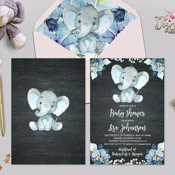 Boy Elephant Baby Shower Invitation Printable or Printed Boy Baby Shower Invite Floral Blue Baby Boy Shower Safari Baby Shower invitations