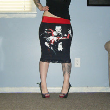 DC Comics - Deadly Dance - Harley and Joker Pencil Skirt