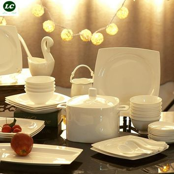 Dinnerware set ceramic bone china 58pcs luxury  tableware dishes set plates bowls microwave safe