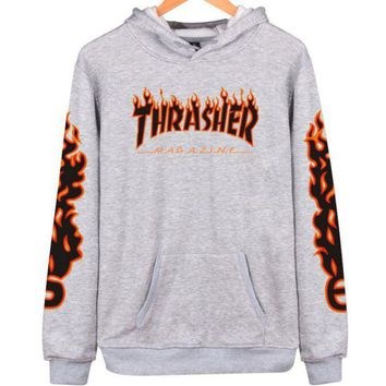 VXL8HQ Thrasher' flame pattern loose hooded  sweater long-sleeved skateboard Grey