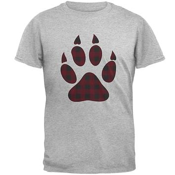 Autumn Buffalo Plaid Bear Claw Paw Mens T Shirt