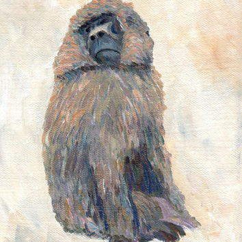 """instant download~animal art painting  """"Hamadryas Baboon At Taipei Zoo"""" wall art home decor (51)"""