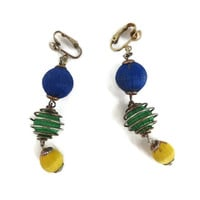 Vintage Ornament Earrings, Blue, Green Yellow Dangling Ball Clip-on Earrings, Holiday Novelty Clips
