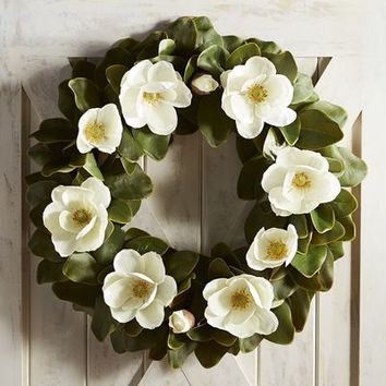 "Oversized 28"" Faux Magnolia Wreath"