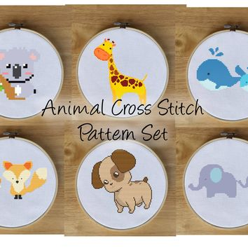 Modern Animal Cross Stitch Pattern Set - Fox, Whale, Elephant, Koala, Giraffe, Puppy Dog