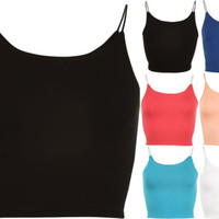 New Womens Spaghetti Strappy Short Plain Bra Ladies Crop Top 8-14