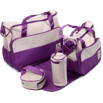 5PCS Baby Diaper Bags for Mom Hobos Mother Bag One Shoulder Baby Nappy Bags 8 colors Newborn Stroller Bag