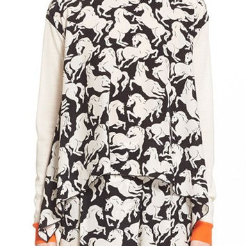 Horse Print Wool & Silk Asymmetric Sweater